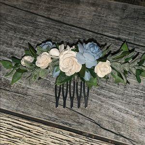 Blue & white flower hair comb